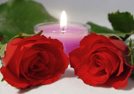 Roses with candle expressing love